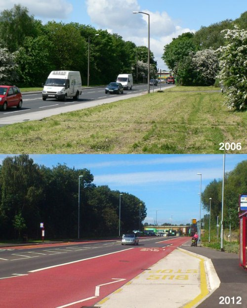 Kirkstall Road in Leeds, 2006 and 2012. Lots of road widening, nothing but a shared bus-and-bike lane for cyclists.