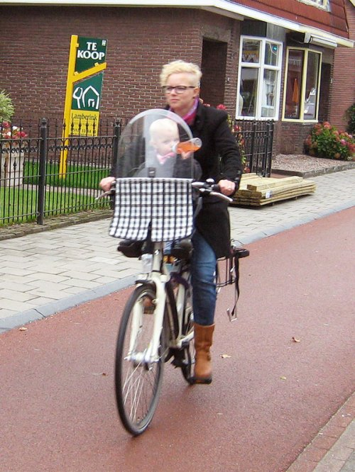 A woman rides her bike along a cycle path in the Netherlands, her toddler in a seat behind the handlebars. The child is drinking from a bottle.