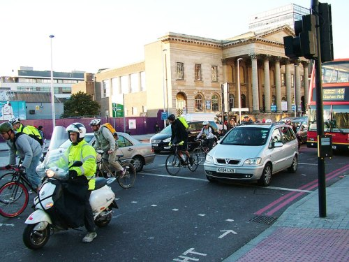 Bikes, motorbikes and cars – not a pleasant cycling environment
