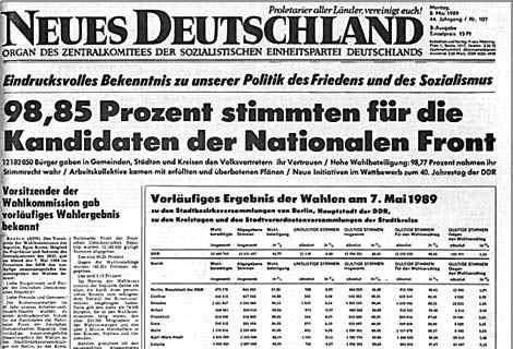 East German ruling party-owned newspaper Neues Deutschland reports election results, May 1989. 98.5% voted for the incumbent government!