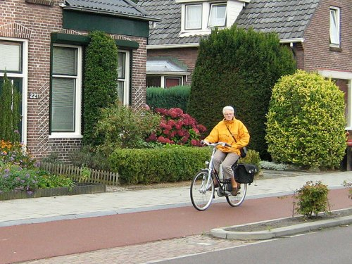 A grey-haired woman casually rides her bike one-handed along a Dutch cycle path