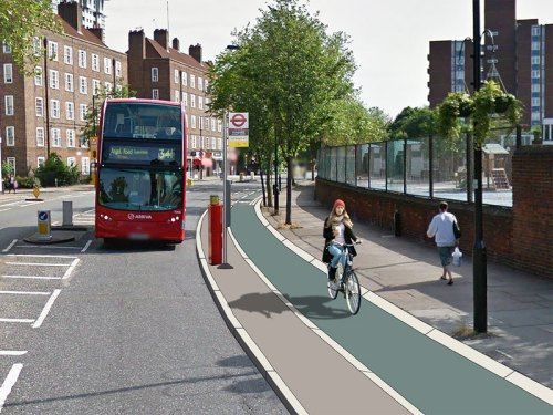 An alternative bus stop design, the likes of which are being suggested by TfL. The bus stops in the carriageway next to a 'bus stop island' allowing bike users to continue without having to overtake the bus.