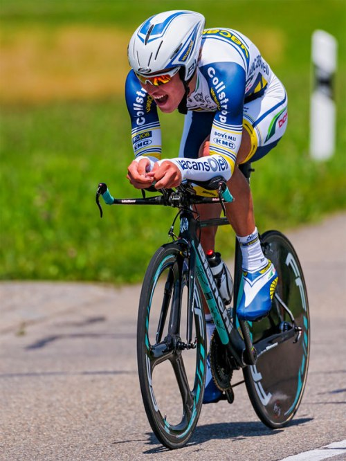 A professional sports cyclist racing on the Tour de Suisse.