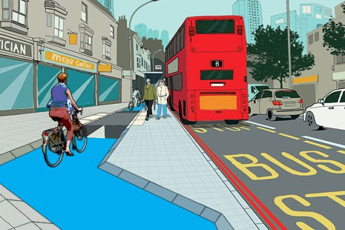My amended version of TfL's design featuring forgiving kerbs and female casual bike user!