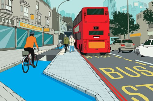 TfL's artist's impression of a cyclepath with bus stop bypass