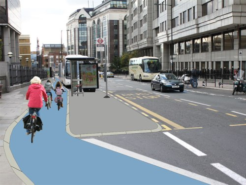 A redesigned Southwark Bridge, where the bike-path continues and the bus stop is on an island between the bike-path and the road.