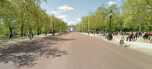 The Mall in London. Hugely wide roads, massive verges, almost invisible cycle path.
