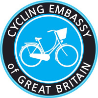 The Cycling Embassy of Great Britain logo, showing a Dutch-style utility bike