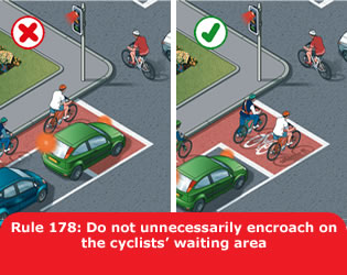 Image from the UK government's Highway Code, showing ideal use of a bike zone at a traffic light junction. So perfect!