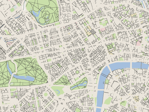 A map of central London with the main roads removed.