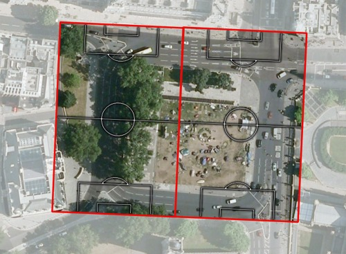 Parliament Square, London, with two football pitches overlaid