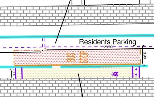 A detail from the plans for Royal College Street, which show that the bus stop filling the width of the carriageway.