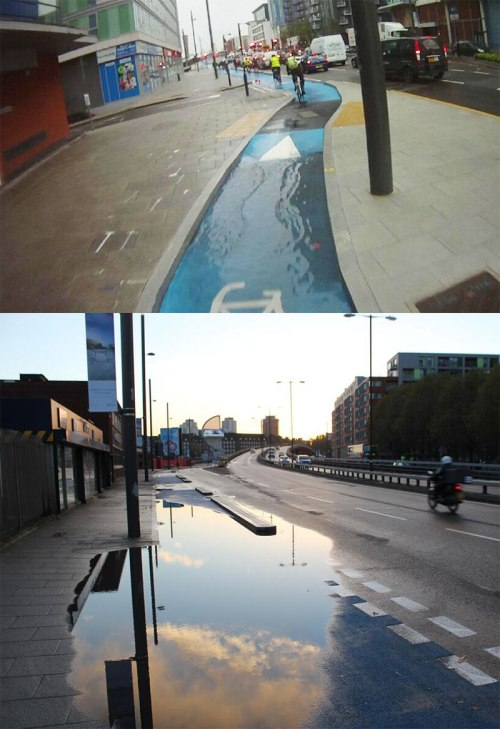 Two photos of rainwater flooding in the brand new Cycle Superhighway 2
