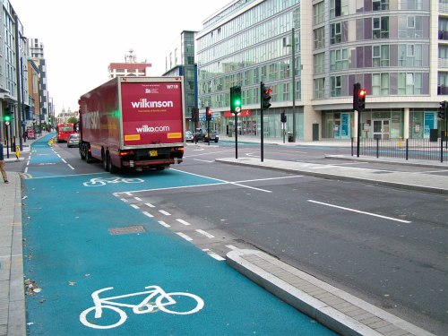 The junction of Stratford High Street, Cycle Superhighway 2 and Warton Road, showing strange and dangerous layout.
